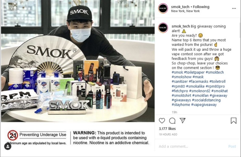 A COVID-themed merchandise promotion from the 'Smok' brand of vaping products.
